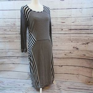 Diane von Furstenberg striped dress black white L